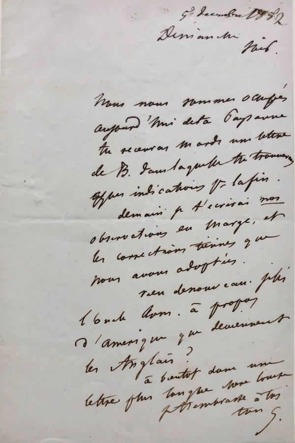 Mémoire d'encres - Lettre autographe signée de Gustave Flaubert à Louise Colet